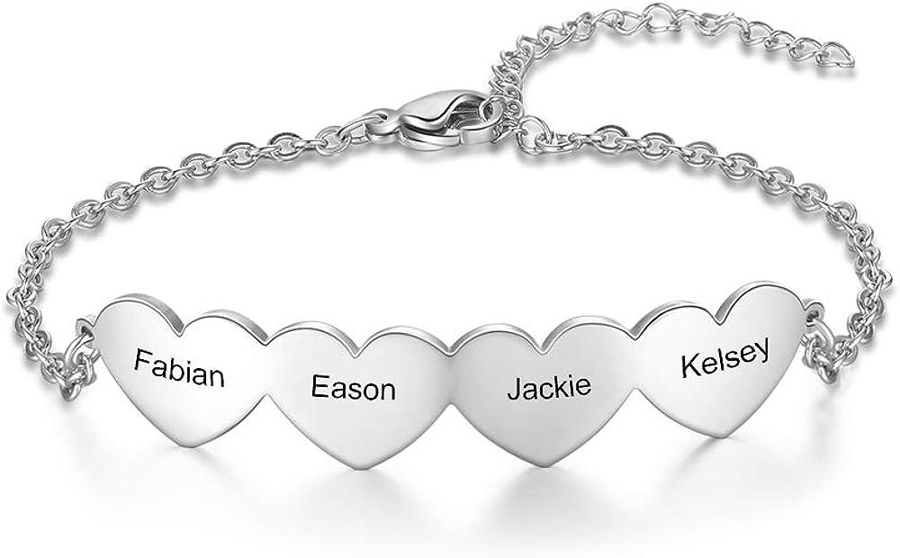 kaululu Personalized Name Max 54% OFF Special sale item Bracelets for Hearts Wo Bracelet Women