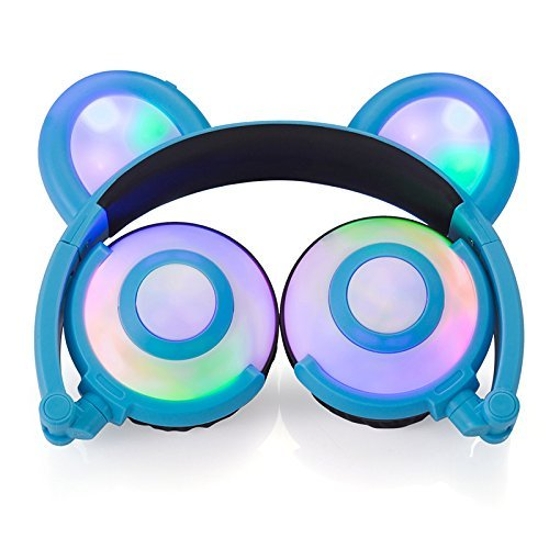 Auriculares para niños, con cable de parpadear oso niños auriculares, Glowing Cosplay Fancy plegable Over-Ear Auriculares para juegos con luz LED para iPad iPhone Android ordenador portátil PC MP3/4