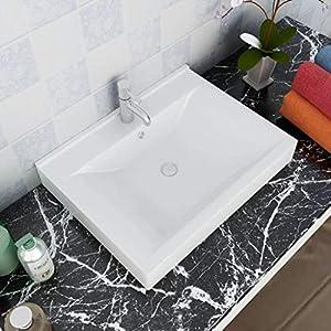 Tidyard Lavabo Cerámico Forma Rectangular Blanco Agujero de Grifo 60x46cm