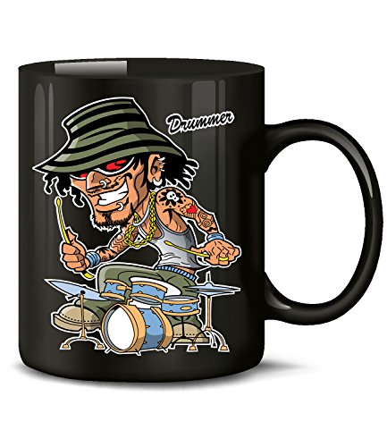 Golebros Musik Schlagzeuger Drummer 1041 Geburtstag Geschenk Fun Tasse Becher Kaffeetasse Kaffeebecher Schwarz