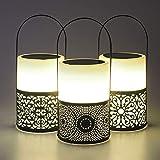 Gadgy Luci Giardino Energia Solare | Set Di 3 | Candele A Energia Solare | Lanterna Con Batteria Per Uso Esterno | Lampade A Led | Colore Bianco E Nero