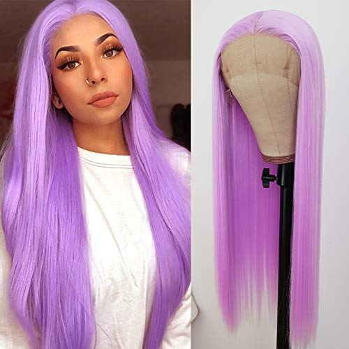 QD-Tizer Lace Front Wigs Light Purple Long Straight Hair Wig Glueless Heat Resistant Fiber Hair Synthetic Lace Front Wigs for Fashion Women
