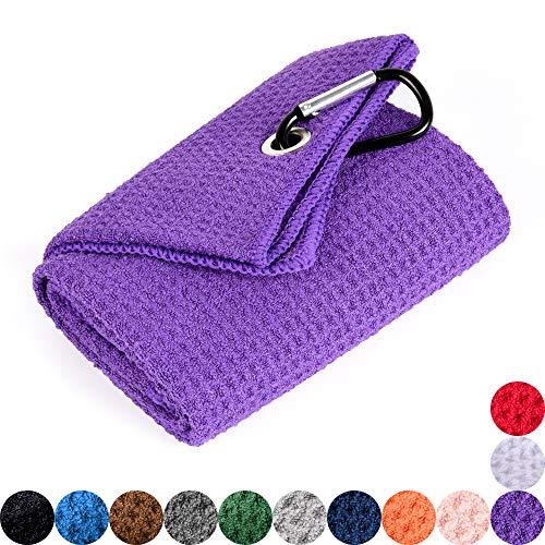Mile High Life Tri-fold Golf Towel | Premium Microfiber Fabric | Waffle Pattern | Heavy Duty Carabiner Clip (Purple)