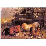 SYBS Retrato Abstracto Pintura Mural Pintura navideña Carl jutz - gallinas Pelea de gallos con Pollitos en Lienzo de paisaje-60x100cm sin Marco