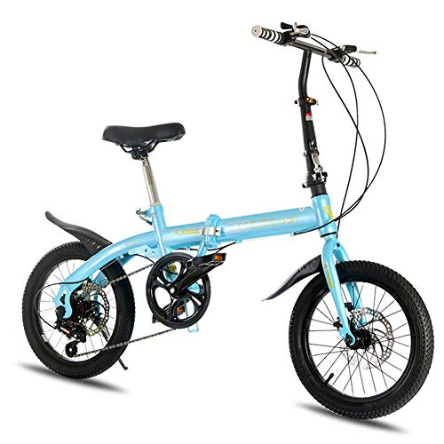 AUTOKS Acero 16 'Mini Velo Bike V Brake 7 Velocidad Bicicleta Plegable Urban Commuter Bicicleta Bicicleta General