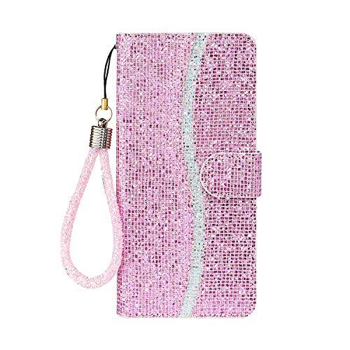 Funda de teléfono para Samsung A50 Flip Case Bling Glitter Sparkle Case Cover 3D Lentejuelas Cuero Cartera con Cierre Magnético, Soporte Soporte y Ranuras para Tarjetas con Correa ( Rosa)