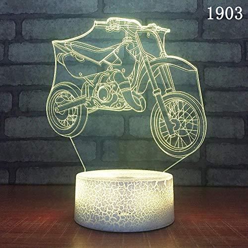 Retro Motorrad 3d Nachtlicht Neuheit führte dreidimensionale Dekoration Rennen 3D Licht kreative Geschenk Urlaub Geburtstagsgeschenk für Jungen nach Hause Dekoration