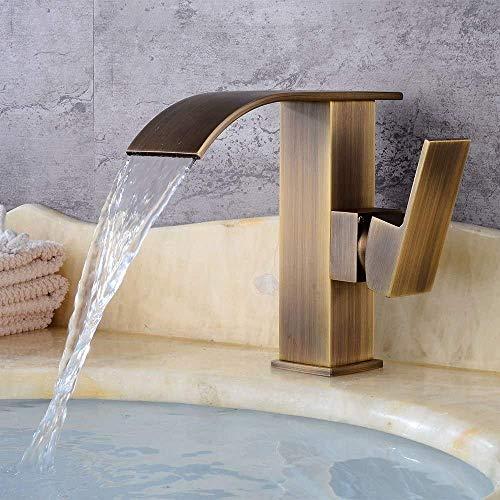 DJY-JY Latón antiguo grifo europeo retro baño cascada agua caliente y fría grifo, drenaje rápido, interruptor de llave, diámetro del puerto de la válvula 3.5 cm inoxidable grifo de la cocina