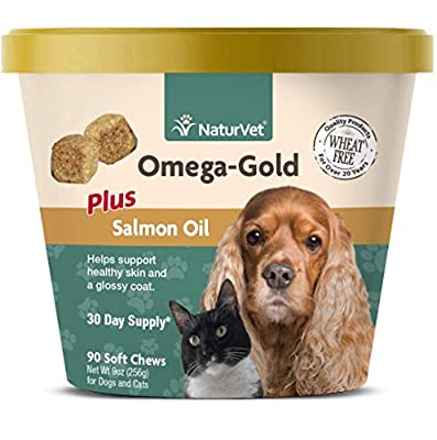 NaturVet Omega-Gold Plus Salmon Oil for Dogs, Soft Chews, Made in USA