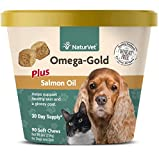 NaturVet – Omega-Gold Plus Salmon Oil – Supports Healthy Skin & Glossy Coat – Enhanced with DHA, EPA, Omega-3 & Omega-6 – for Dogs & Cats – 90 Soft Chews