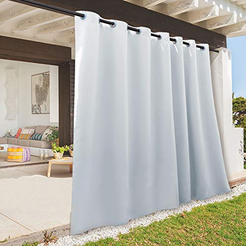 RYB HOME Outdoor Panel Curtain - Cabana Window Curtain, Blackout Vertical Blind for Patio Sliding Sliding Door / Beach / Party / Ceremony / Gift Idea, 100 W x 95 L, Single Panel, Grayish White