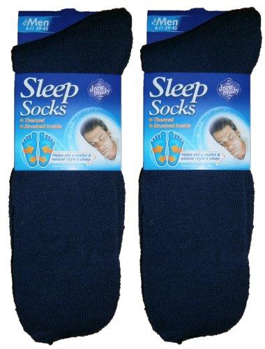 Drew Brady - Lot de 2 paires de chaussettes thermiques pour hommes - Spéciales nuit - Bleu - 40-45