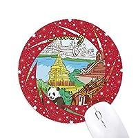 タイチェンマイパンダ寺 円形滑りゴムの赤のホイールパッド