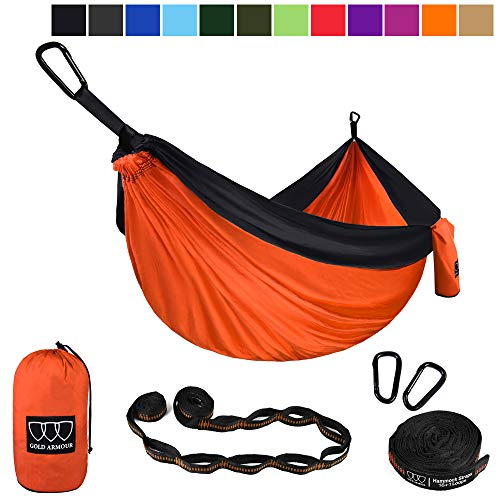 Gold Armour Camping Hammock - Extra Large Double Parachute Hammock (2 Tree Straps 16 Loops,10 ft Included) USA Brand Lightweight Nylon Mens Womens Kids, Camping Accessories Gear (Orange/Black)