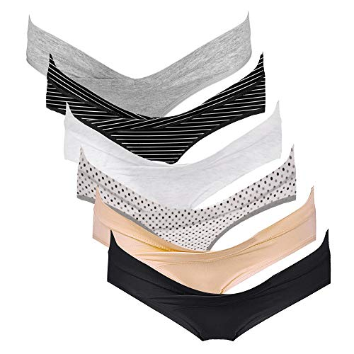 Intimate Portal Damen Schwangerschafts Unterhosen Bikinislips Postpartale Unterwäsche 6er-Pack Schwarz Grau Beige Weiß Gestreift Gepunktete M