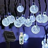 Cadena de luces solares para exterior, 50 ledes, 8 modos, bolas de cristal solar impermeables para exterior e interior, conector USB adicional,iluminación para terraza, fiestas (blanco)
