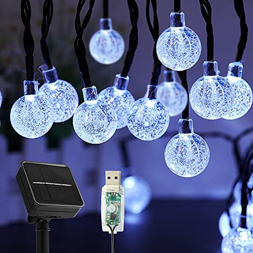 Cadena de luces solares para exterior, 60 ledes, 8 modos, bolas de cristal solar impermeables para exterior e interior, conector USB adicional,iluminación para terraza, fiestas (blanco)