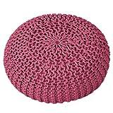 casamia Pouf Ø 55 cm Strickhocker Sitzpouf Sitzpuff Sitzhocker Grobstrick-Optik Bodenkissen extrahoch Höhe 37 cm Farbe pink
