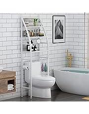 "YAQOOT® Bathroom Toilet Storage Rack, 3-Tier Over-The-Toilet Storage Shelf, Bathroom Organizer Over Toilet White (18.9""L x 9.8""W x 65.4""L)"