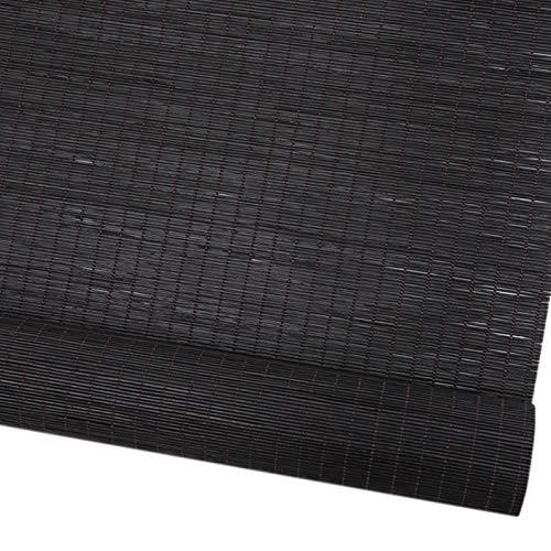 YXX Estores enrollables Negro Impermeable Exterior Persianas De Privacidad Persianas para Terraza Porche Pérgola Gazebo Balcón Patio Trasero Puerta De Patio, Bambú, 60/80/100/120 / 140cm Ancho