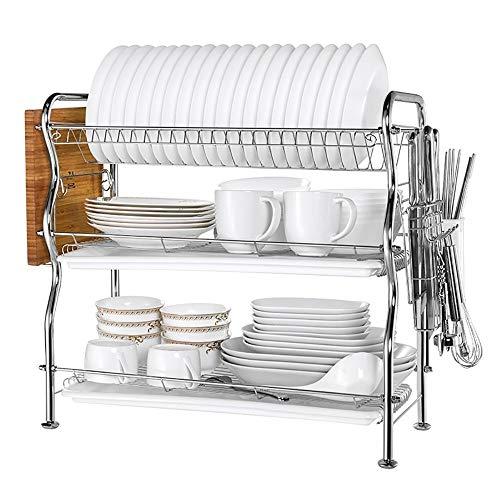 Rangement pour étagères de cuisine - bols en acier inoxydable, baguettes, tasses, étagère à épices, plats de rangement pour comptoir, étagère de rangement au sol sur plan de travail, famille , hôtel o