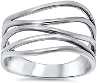 CloseoutWarehouse Sterling Silver Crooked Lines Filigree Ring (Sizes 5-15)