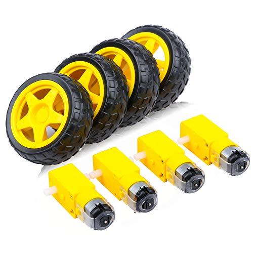Mikro 4 STÜCKE DC Elektromotor + Kunststoff TT Motor Reifenrad 3-6V Dual Wellengetriebe Motor TT Magnetgetriebe...