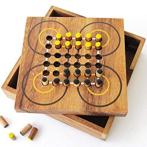 SURAKARTA - Indonesisches Strategiespiel für 2 Spieler ab 7 Jahren aus Massivholz mit CE-Normen, französische Marke Le Délirant®, Reisespiele, leicht zu verstauen, mit wiederverschließbarem Tablett