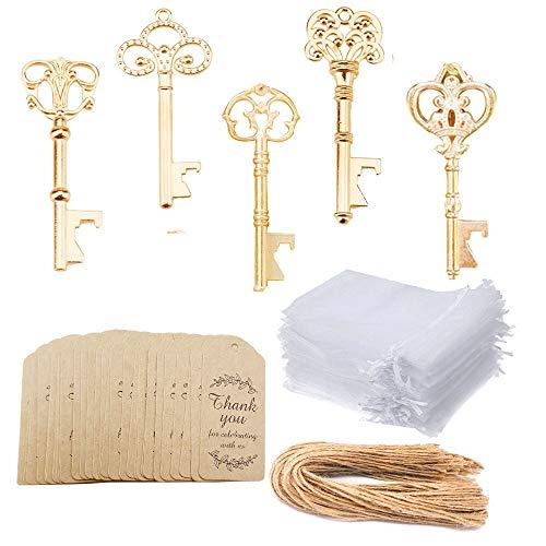 Awtlife 50 Stück KC Gold Skelett Schlüssel Flaschenöffner 5 Stil mit Etikett Karten durchscheinende Tasche für Hochzeit Party Gastgeschenke Weihnachten