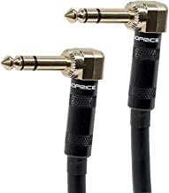 Monoprice Premier Series 1/4 Inch (TRS) Right Angle Male to Right Angle Male 16AWG Cable Cord - 6 Feet- Black (Gold Plated)