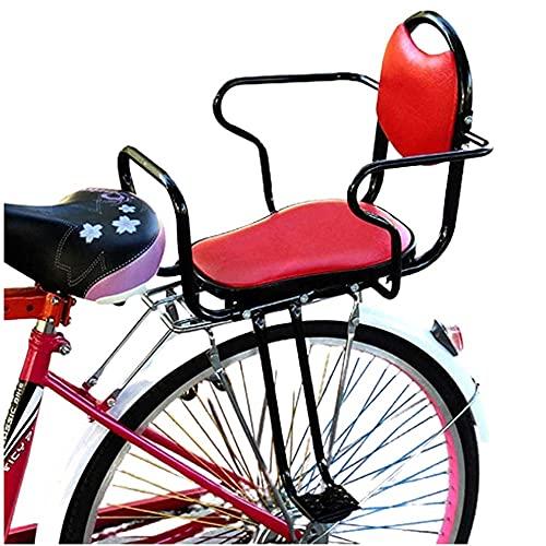 Soporte Trasero para Asiento de Bicicleta para Niños, Asientos Traseros de Seguridad para Niños En Bicicleta, con Reposabrazos, Pedales, Asiento para Bebés, Asientos de Seguridad Red