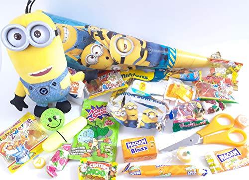 101631 gefüllte Schultüte Minion 35cm mit Plüschminion Zuckertüte als Geschenk verpackt mit Schulsachen