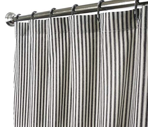 Shower Curtain Unique Fabric Designer Modern Black and White Striped Ticking 72 Inches
