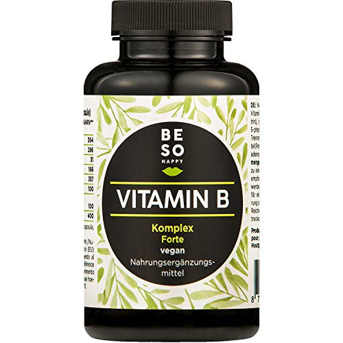 BeSoHappy Complesso Vitaminico B Forte (180 capsule per 6 mesi) – Analizzato da laboratorio e testato l a base di vitamina B12, B1, B2, B3, B4, B5, B6, biotina, acido folico