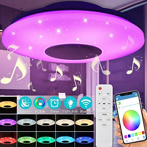 Lámpara LED de techo Starlight con altavoz Bluetooth (con mando a distancia), lámpara de techo para casa, dormitorio, LED, Bluetooth, música, lámpara de techo