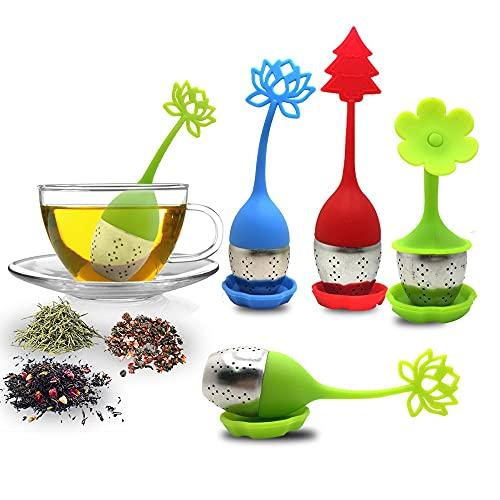 Infuseur à thé avec plateau inclus Ensemble de 5, sourceton étui en silicone, poignée en acier inoxydable, filtre à tamis, support de thé en vrac