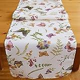 Kamaka - Excelente colección de fundas y caminos de mesa 'mariposas en un campo de flores', en color crema y tonos pastel, una joya en cualquier habitación; se puede elegir entre manteles, caminos de mesa y fundas de cojín, poliéster, creme - bunt, Tischläufer 40x140 cm