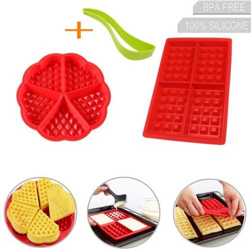Lot de 3 moules à gaufres en silicone ronds et carrés pour gâteaux - Outils de cuisson réutilisables sans BPA