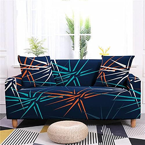Funda Sofas 2 y 3 Plazas Estampado Azul Oscuro Fundas para Sofa Universal,Cubre Sofa Ajustables,Fundas Sofa Elasticas,Funda de Sofa Chaise Longue,Protector Cubierta para Sofá