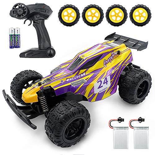 YOOUSOO Remote Control Car, 2.4 GHZ High Speed Racing Car RC Car Toys,Buggy for Boys and Girls with 4 Rechargeable Batteries, Gift for Kids