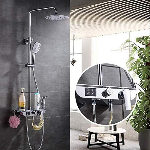CY Set de ducha Cuatro Gear juego de ducha de cobre grifo de la ducha tapa grande de pulverización automática Descontaminación de seguridad anti-caliente de la ducha Sistema de abastecimiento de agua