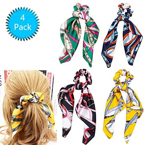 LOVOE 4Pcs Satin Hair Scrunchies Scarf, Chiffon Silk Elastic Hair Bands Knot Scrunchy Hair Ties Ponytail Holders for Women