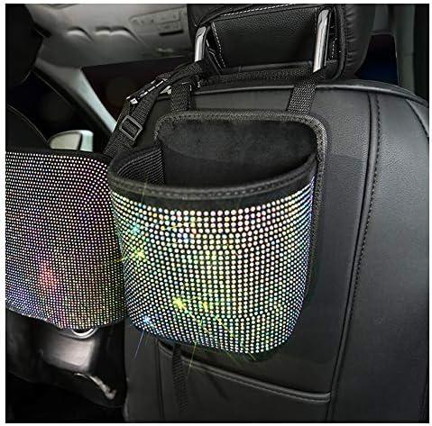 Siyibb Car Storage Pocket with Bling Diamond Front or Back Seat Organizer Trash Bag Hanging product image