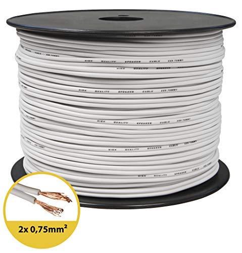 toolcity Cable de Altavoz (Zwilling Litz) 2x 0,75mm² (Box Cable/Cable de Audio,...
