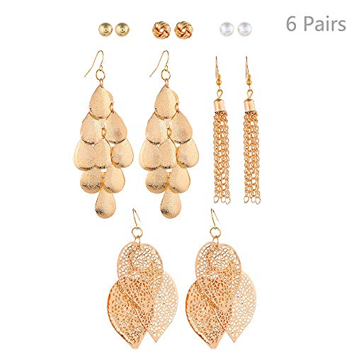 Jurxy 6 Paare Gold Quaste Ohrringe Set Perle Kugel Piercing-Ohrringe Triple Leaf Drop Retro Böhmische