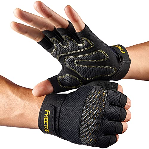 FREETOO Workout Gloves for Men 2021 Latest, [Full Palm Protection] [Ultra Ventilated] Weight Lifting Gloves with Cushion Pads and Silicone Grip Gym...