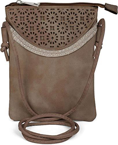 styleBREAKER Minibag Umhängetasche mit Blumen Cutout Muster und Nieten, Schultertasche, Tasche, Damen 02012127, Farbe:Taupe
