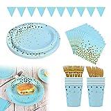 Sunshine smile Einweg Pappteller ,Partygeschirr Set,Papier Geschirr Geburtstag,Teller Party,Papier Teller Einweg,Pappteller für Party Supplies(Tupfen blau)