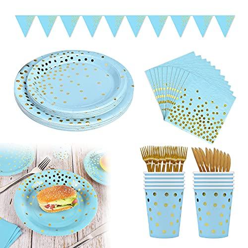 Platos Fiesta,Vajilla Papel Reutilizable Cubiertos Cumpleaños ,Platos de papel desechables, Juego de vajilla de fiesta, Vajilla de papel para cumpleaños, Platos de papel desechables (Azul-A)