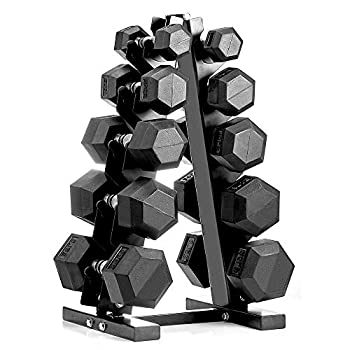 papababe 150LB Dumbbell Set with A-Frame Dumbbell Rack Rubber Encased Hex Dumbbell Free Weights Dumbbells Set Home Weight Set  A Pair of 5 10 15 20 25 LB Dumbbell with Dumbbell Rack